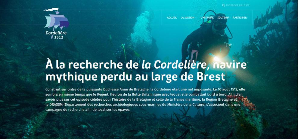 Capture d'écran du site À la recherche de La Cordelière