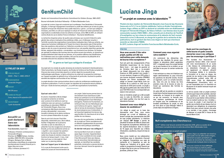 Double page du magazine Chercheurs européens n16