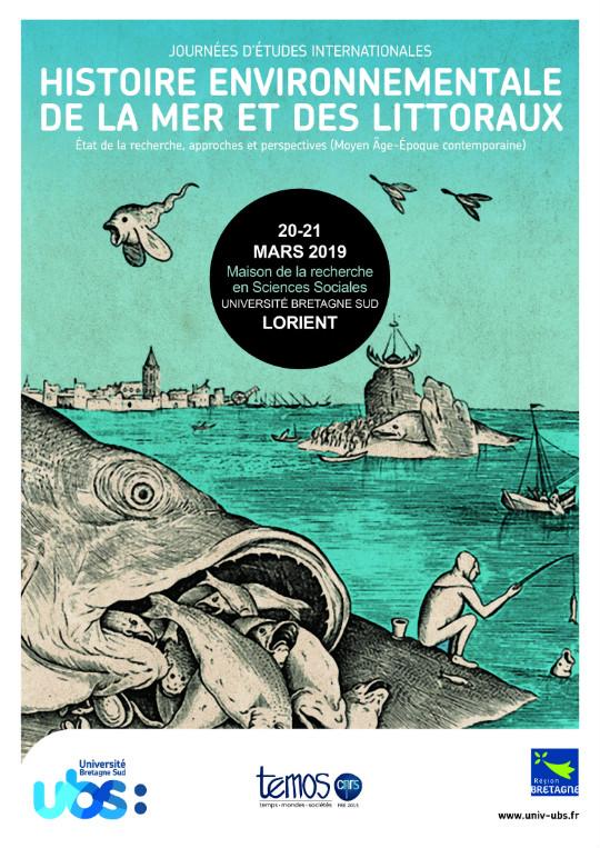 """Affiche des journées d'études internationales """"Histoire environnementale de la mer et des littoraux"""""""
