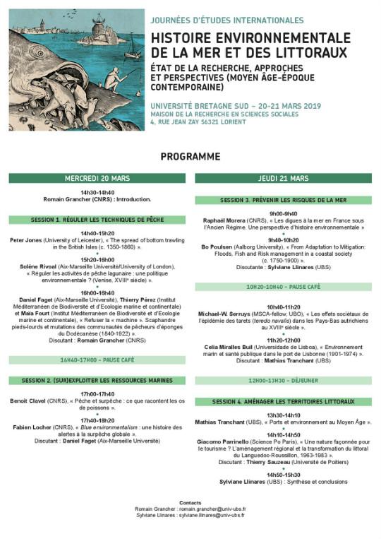 """Programme des journées d'études internationales """"Histoire environnementale de la mer et des littoraux"""""""