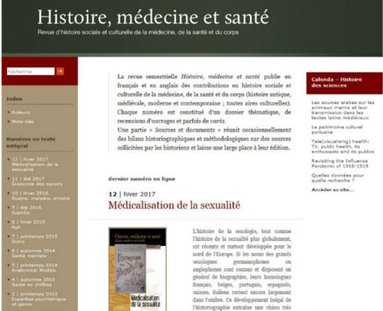 Capture d'écran du site de la revue Histoire, médecine et santé