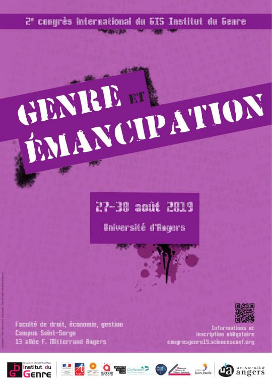"""Affiche et lien vers le site du Congrès """"Genre et émancipation"""""""