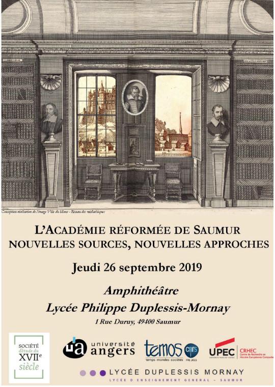 """Affiche de la journée d'étude """"L'Académie réformée de Saumur : nouvelles sources, nouvelles approches"""""""