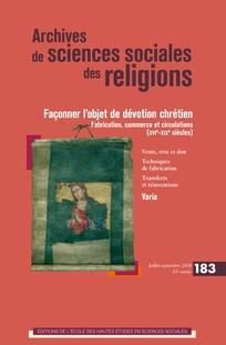 Couverture de la revue Archives de sciences sociales des religions 2018/3 (n° 183)
