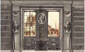 """Gravure ancienne de bibliothèque pour la journée d'étude """"L'Académie réformée de Saumur : nouvelles sources, nouvelles approches"""""""