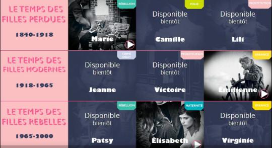capture d'écran du menu de la websérie Mauvaises filles